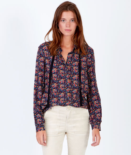 Floral print shirt with tie neck detail