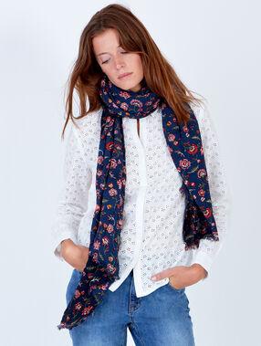 Floral print scarf navy.