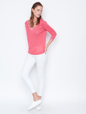 Linen sweater coral.