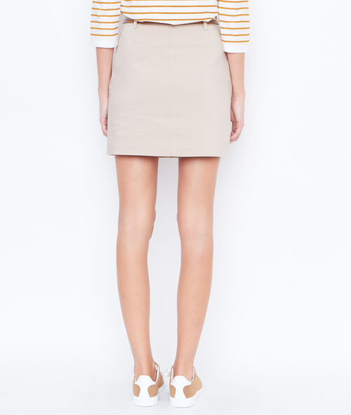 Belted straight skirt