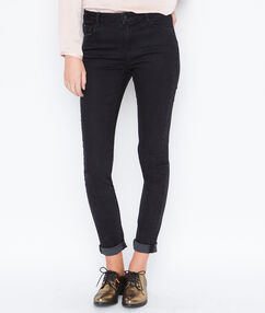 Slim jeans with crystal details black.