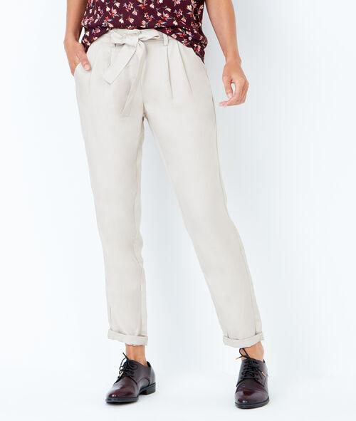Belted peg pants