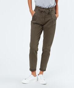 Tie waisted cotton pants khaki.