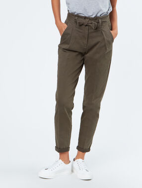 Tie waisted cotton pants khaki.