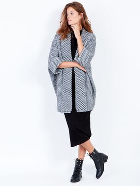 3/4 sleeve long knitted cardigan heather grey.