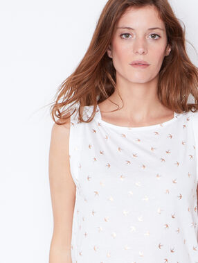 Bird print sleeveless top white.