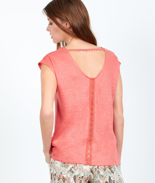 Scoop back top with guipure detail