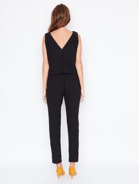 V back jumpsuit black.