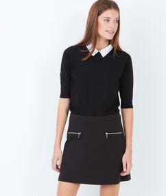 Jupe trapèze avec poches zippées noir.