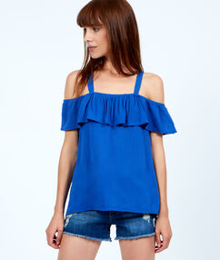Off the shoulder ruffle top blue.