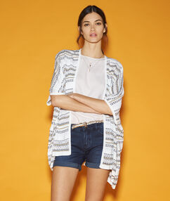 Gilet long imprimé tribal blanc.