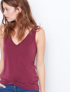 V-neck sleeveless top plum.