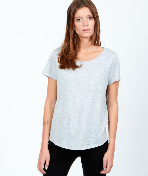 Round collar cotton T-shirt