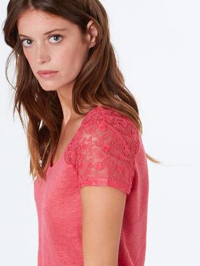 T-shirt en lin rose.