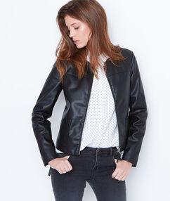 Veste à col rond effet cuir noir.