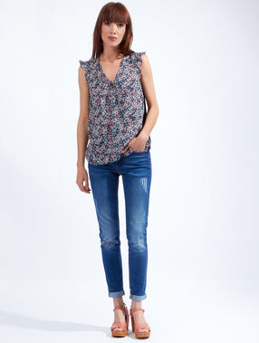Ruffle floral print top navy.