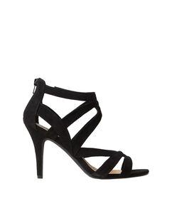 Sandales à talons en suédine noir.