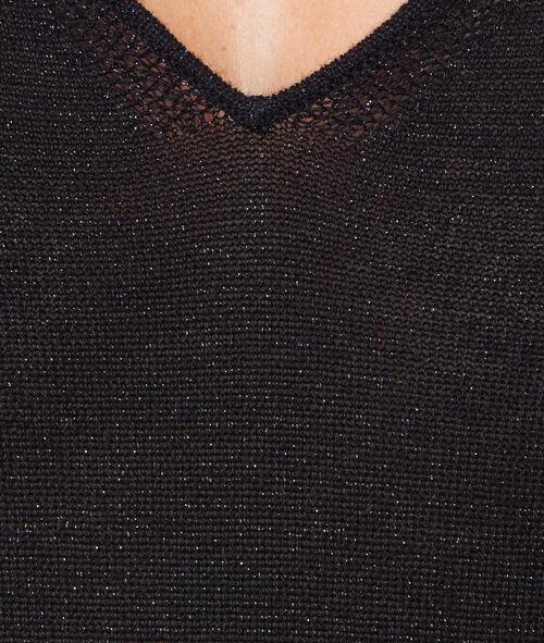 Top en fibres métalisées décolleté en V à l'avant et au dos