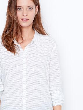 Chemise imprimés petits coeurs blanc.