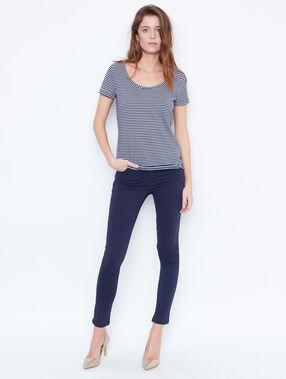 T-shirt marinière manches courtes bleu marine.