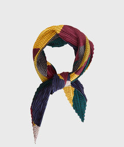 Pañuelo plisado estampado étnico multicolor.