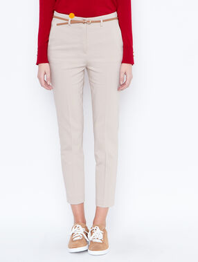 Belted cigarette trousers beige.