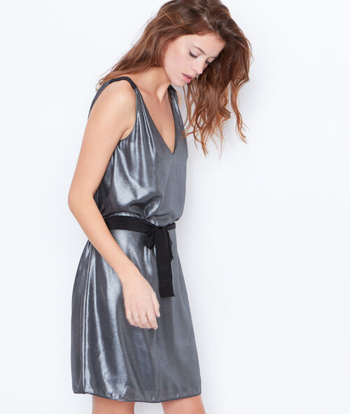 Metallic effect belted dress
