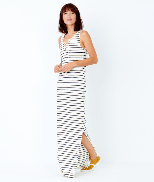 Sleeveless striped long dress with lace up front