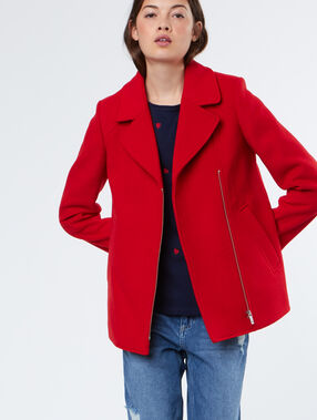3/4 sleeves coat red.