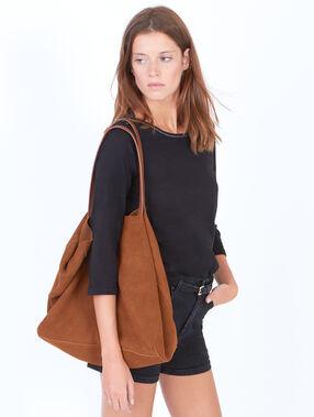 Leather shopper bag brown.