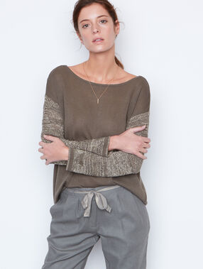 Open back sweater khaki.