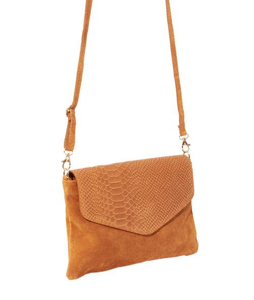 Split leather clutch