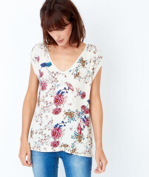 T-shirt col V à imprimés fleuris
