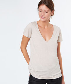 Camiseta escote en v efecto metalizado c.nude.
