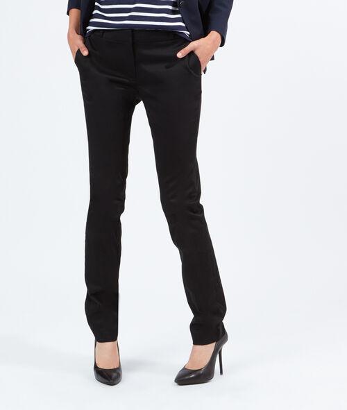 Pantalon de tailleur en satin de coton