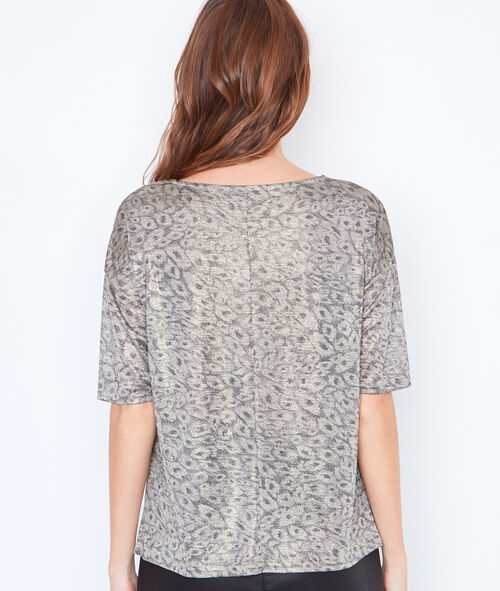 Metallic effect leopard top