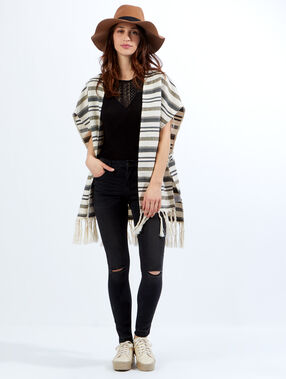 Striped poncho with fringe black/off white.