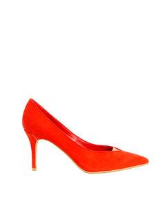 Escarpins effet daim, détail doré rouge corail.