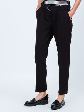 Skinny pants 7/8, with belt black.
