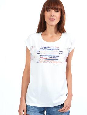 T-shirt jacquard graphique blanc.