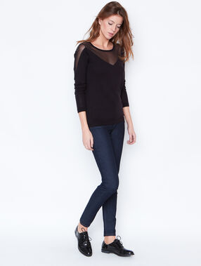 Fine sweater with lace detail black.