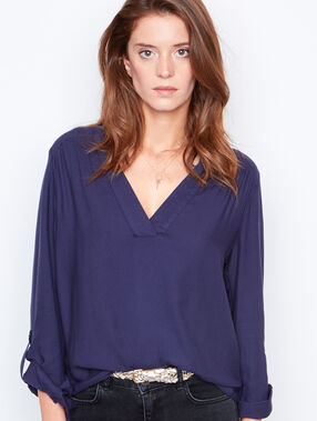 V-neck blouse navy.