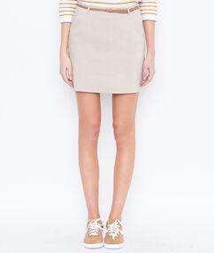 Falda recta con cinturón c.beige.