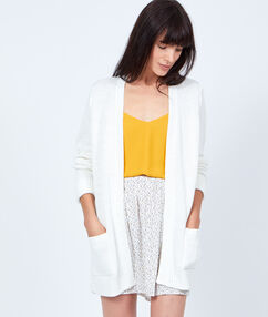 Long cardigan, chunky knit white.