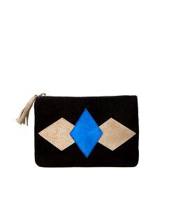 Pochette en croûte de cuir noir/argente/bleu royale.