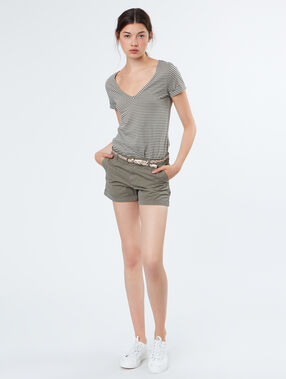 Cotton stripped t-shirt khaki.