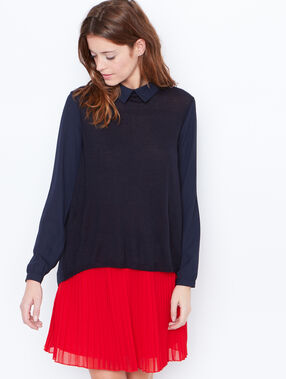 Fine sweater with collar navy.