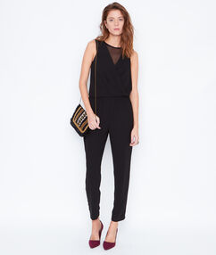 Wrap jumpsuit with lace details black.