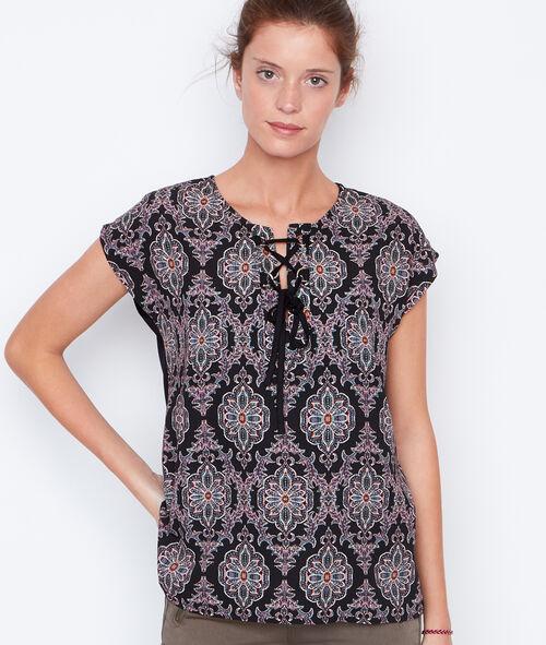T-shirt manches courtes imprimé avec lacet