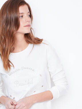 Round collar sweatshirt off white.